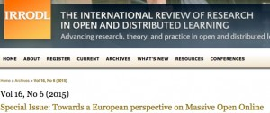 European MOOCs – Special Issue of IRRODL